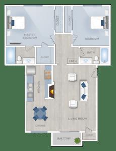 Two Bedroom Apartments in Encino, plan